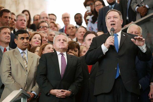 PHOTO: U.S. Secretary of State Mike Pompeo delivers remarks during a welcome ceremony in the lobby of the Harry S. Truman Building May 1, 2018 in Washington. (Chip Somodevilla/Getty Images)