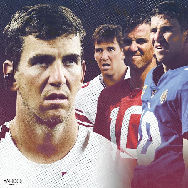 """<a class=""""link rapid-noclick-resp"""" href=""""/nfl/players/6760/"""" data-ylk=""""slk:Eli Manning"""">Eli Manning</a> is no longer the Giants' starting quarterback, but his many incredible faces will live in our hearts forever. (Yahoo Sports)"""