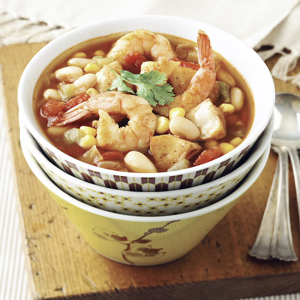 "<p>According to legend, this seafood soup originated in San Francisco, the creation of Italian-immigrant fishermen who were as skilled with a soup kettle as they were with a net. <a href=""http://www.eatingwell.com/recipe/264387/seafood-cioppino/"" rel=""nofollow noopener"" target=""_blank"" data-ylk=""slk:View recipe"" class=""link rapid-noclick-resp""> View recipe </a></p>"