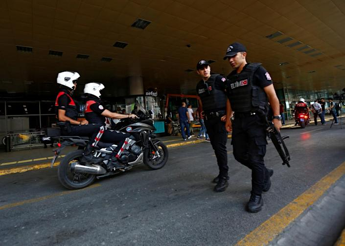 <p>Police officers patrol at the country's largest airport, Istanbul Ataturk, following yesterday's blast in Istanbul, Turkey, June 29, 2016. (REUTERS/Murad Sezer) </p>