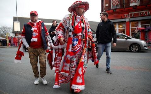 Bayern Munich fans outside the stadium before the match - Credit: REUTERS