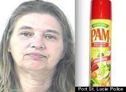 """Barbara Hall was involved in a bedroom romp with her boyfriend when he asked her if she had brought PAM cooking spray, which he wanted to use as lubricant. However, Hall thought he was referring to an ex-girlfriend of his named Pam, and she allegedly flew into a jealous rage, punching him repeatedly and heaving objects at his head. <a href=""""http://www.huffingtonpost.com/2012/06/14/barbara-hall-pam-cooking-spray-sex-assault-florida_n_1597702.html"""" rel=""""nofollow noopener"""" target=""""_blank"""" data-ylk=""""slk:Read the whole story here."""" class=""""link rapid-noclick-resp"""">Read the whole story here.</a>"""