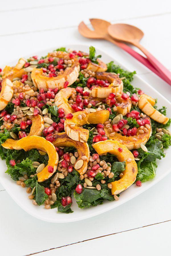 "Hearty kale tossed in a sweet and tangy dressing is perfect for a mid-week pick-me-up meal. <strong>Get the recipe at </strong><a href=""http://ohmyveggies.com/recipe-kale-delicata-salad-citrus-maple-vinaigrette/"" rel=""nofollow noopener"" target=""_blank"" data-ylk=""slk:Oh My Veggies"" class=""link rapid-noclick-resp""><strong>Oh My Veggies</strong></a>."