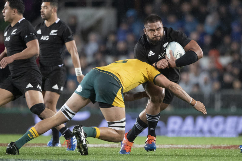 All Blacks prop Nepo Laulala carries the ball against Australia during a Bledisloe Cup rugby test between the All Blacks and Australia at Eden Park in Auckland, New Zealand, Saturday, Aug. 17, 2019. (Brett Phibbs/SNPA via AP)