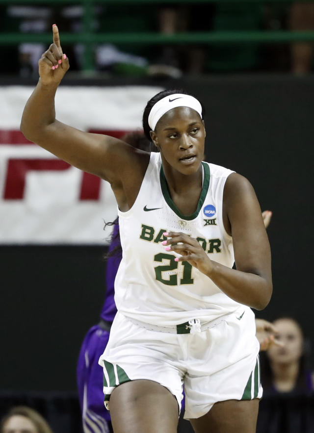 Baylor center Kalani Brown (21) celebrates sinking a basket against Abilene Christian in the first half of a first-round game in the NCAA women's college basketball tournament in Waco, Texas, Saturday March 23, 2019. (AP Photo/Tony Gutierrez)