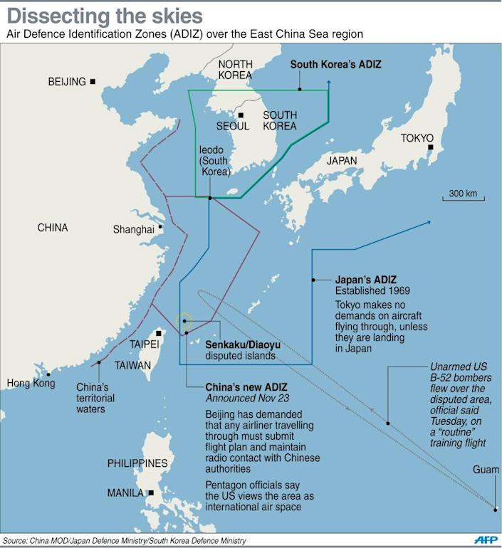 Map showing Air Defence Identification Zones (ADIZ) over the East China Sea region (AFP Photo/)