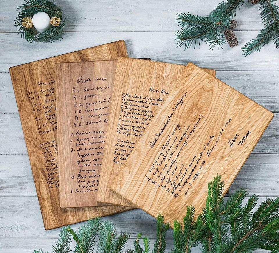 <p>Made from premium oak and walnut wood, this <span>Custom Handwritten Recipe Cutting Board</span> ($59) is a great heirloom gift for any guardian. Personalize this board with a heartfelt letter, a recipe they love, or something that they consider meaningful.</p>