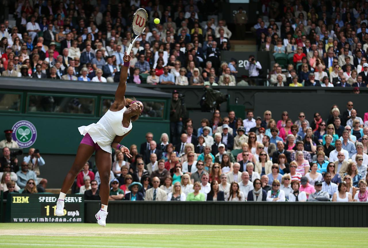 LONDON, ENGLAND - JULY 07:  Serena Williams of the USA serves the ball during her Ladies? Singles final match against Agnieszka Radwanska of Poland on day twelve of the Wimbledon Lawn Tennis Championships at the All England Lawn Tennis and Croquet Club on July 7, 2012 in London, England.  (Photo by Julian Finney/Getty Images)