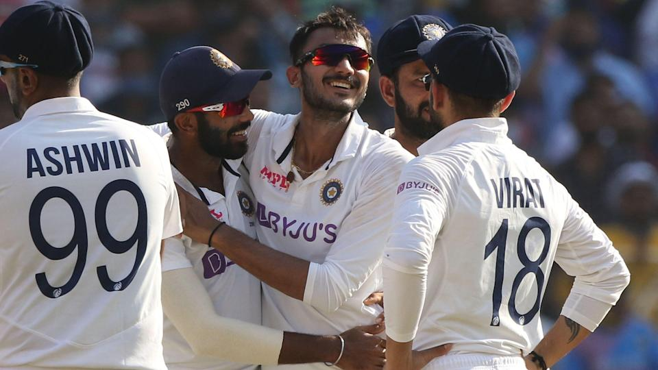Axar Patel celebrates a wicket against England on Day 1 of the Ahmedabad Test.