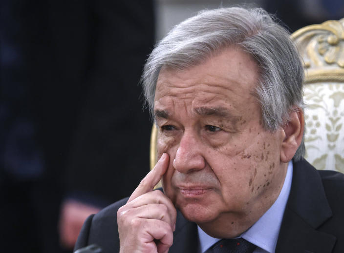 UN Secretary-General Antonio Guterres listens to Russian Foreign Minister Sergey Lavrov during their meeting in Moscow, Russia, Wednesday, May 12, 2021. (Maxim Shemetov, Pool via AP)