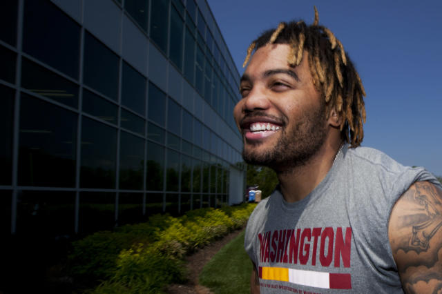 Derrius Guice has been all smiles so far, and the Redskins need him to produce as a rookie. (AP Photo/Manuel Balce Ceneta)