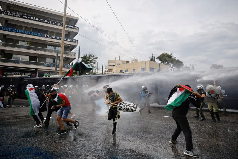 Demonstration outside the Israeli embassy, following a flare-up of Israeli-Palestinian violence, in Athens