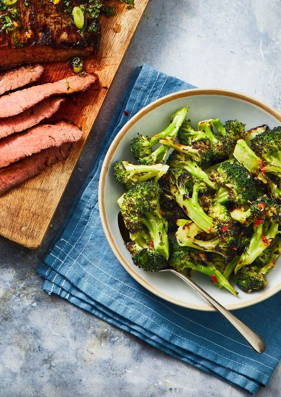 """<p>Skip the grilling step and make broccoli in the air fryer, then toss with a spicy lemon-butter sauce.</p><p><em><a href=""""https://www.goodhousekeeping.com/food-recipes/a36232570/grilled-broccoli-recipe/"""" rel=""""nofollow noopener"""" target=""""_blank"""" data-ylk=""""slk:Get the recipe for Air Fryer Broccoli »"""" class=""""link rapid-noclick-resp"""">Get the recipe for Air Fryer Broccoli »</a></em></p>"""