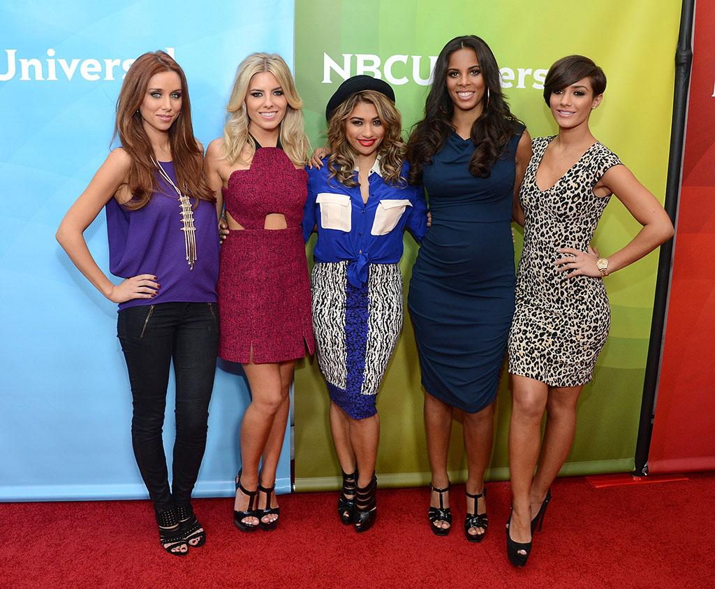 """Una Healy, Mollie King, Vanessa White, Rochelle Humes and Frankie Sandford of """"The Saturdays"""" attend NBCUniversal's """"2013 Winter TCA Tour"""" Day 2 at Langham Hotel on January 7, 2013 in Pasadena, California."""