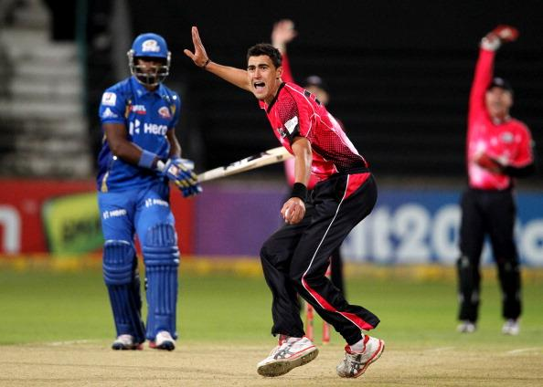 DURBAN, SOUTH AFRICA - OCTOBER 22:  Mitchell Starc of Sydney appeals during the Champions League twenty20 match between Sydney Sixers and Mumbai Indians at Sahara Stadium Kingsmead on October 22, 2012 in Durban, South Africa. (Photo by Anesh Debiky / Gallo Images/Getty Images)