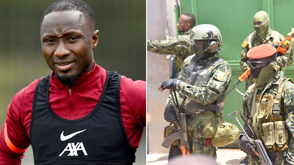 Pictured here, Liverpool's Naby Keita and soldiers involved in a Guinea a military coup.
