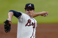 Atlanta Braves starter Tucker Davidson delivers during the first inning of the team's baseball game against the New York Mets on Tuesday, May 18, 2021, in Atlanta. (AP Photo/John Bazemore)