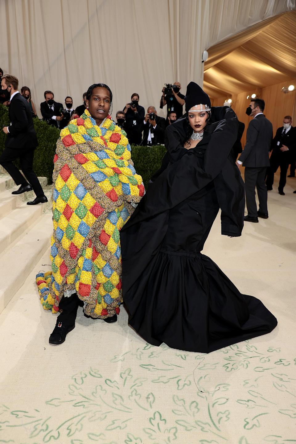 Rihanna may have shown up in Balenciaga, but her casual look was a couture ode to American streetwear. Meanwhile, A$AP wore a quilt by L.A. label ERL, representing the patchwork of cultures that make up America.