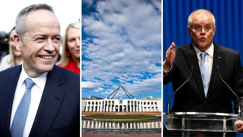 Labour vs Liberal in the Federal Election 2019: Picture of Parliament House, Bill Shorten and Scott Morrison.