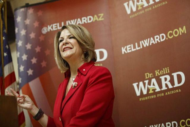 Kelli Ward, a former senator from Arizona, speaks during a campaign stop in Phoenix, Ariz., in 2016. (Photo: Patrick T. Fallon/Bloomberg via Getty Images)