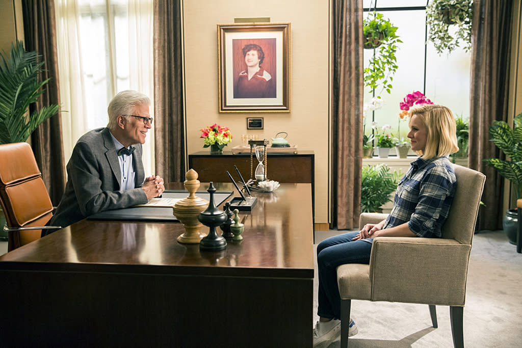 """<p>With only 20 episodes airing to date, you need less than eight hours to be all caught up when the NBC comedy resumes its second season <span><span>Jan. 4</span></span>. Start at the beginning — when Eleanor (Kristen Bell) thinks she's been falsely admitted to """"the good place"""" by afterlife architect Michael (Ted Danson) — even if the brilliant Season 1 finale twist has been spoiled for you. The payoffs in Season 2 are many, the ensemble cast is delightful, and the show's heart is as big as you'd expect coming from Parks and Recreation creator Mike Schur. <em>— Mandi Bierly</em><br /><br /><em>Available to stream: Netflix (all episodes are available for purchase on Amazon, iTunes, etc.)</em><br /><br />(Photo: Justin Lubin/NBC) </p>"""
