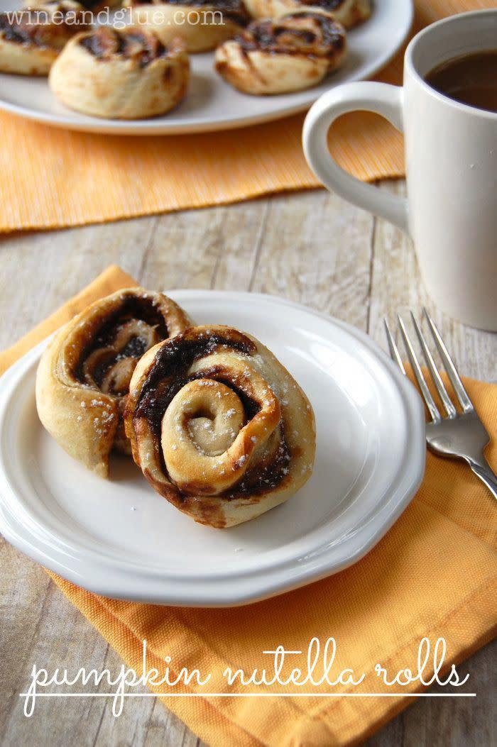 """Perhaps you've never thought of combining pumpkin and Nutella before — but now that you've heard of it, can you imagine a more perfect combination? <a href=""""http://www.wineandglue.com/2013/09/pumpkin-nutella-rolls-2.html"""" rel=""""nofollow noopener"""" target=""""_blank"""" data-ylk=""""slk:Learn how to make this at Wine and Glue"""" class=""""link rapid-noclick-resp"""">Learn how to make this at Wine and Glue</a>."""