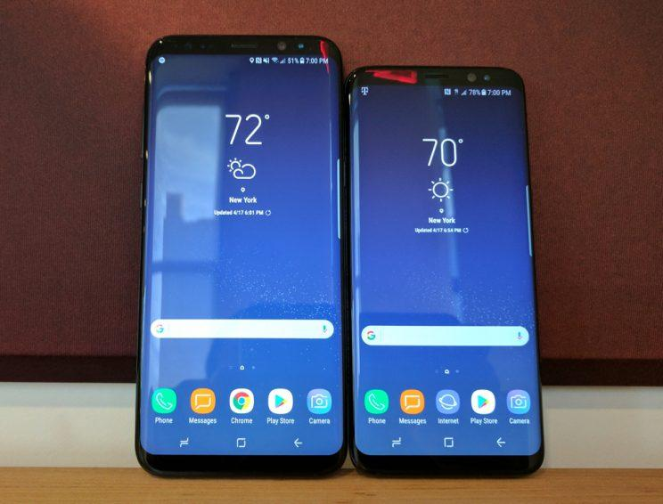 The Galaxy S8 and S8 Plus side by side.