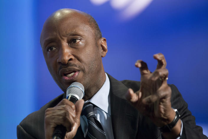 """Kenneth Frazier, Chairman and CEO of Merck, participates in a session """"The Future of Impact,"""" Sunday, Sept. 27, 2015 at the Clinton Global Initiative in New York. (AP Photo/Mark Lennihan)"""