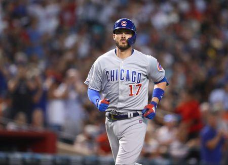 FILE PHOTO: Apr 28, 2019; Phoenix, AZ, USA; Chicago Cubs outfielder Kris Bryant rounds the bases after hitting a two run home run in the third inning against the Arizona Diamondbacks at Chase Field. Mark J. Rebilas-USA TODAY Sports