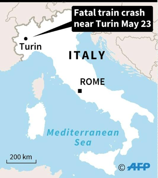 Map locating a train crash in Italy
