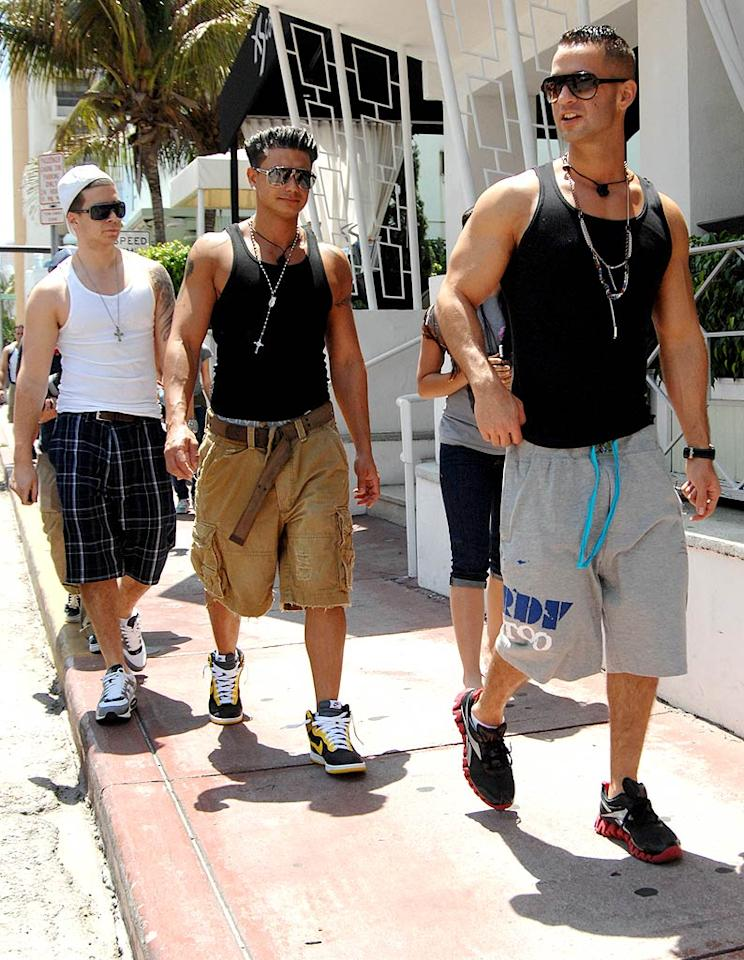 """And on a lighter note, the """"Jersey Shore"""" gang hit Miami this week to begin filming the second season of their hit reality show. Hair-obsessed tanzillas The Situation, Pauly D, and Vinny were spotted checkin' out the ladies in South Beach on Thursday. Robert Keshishian/London Ent./<a href=""""http://www.splashnewsonline.com"""" target=""""new"""">Splash News</a> - April 8, 2010"""