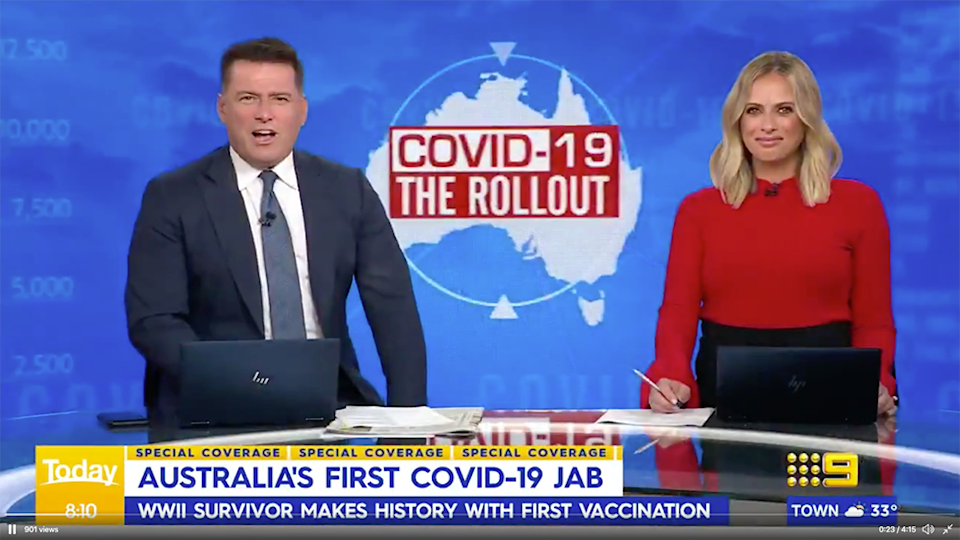 Today show Karl Stefanovic Sylvia Jeffereys vaccine rollout