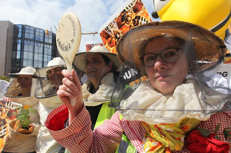 Beekeepers protest next to a giant inflatable bee in front of the European Council and Commission in Brussels, Monday, April 29, 2013. EU Member States meet on Monday, to decide on a proposal by the European Commission to impose a 2-year moratorium on neonicotinoid pesticides, which many scientists agree are the driving force behind Europe's dramatic bee decline. The text in French reads: 'Stop the slaughter'. (AP Photo/Yves Logghe)