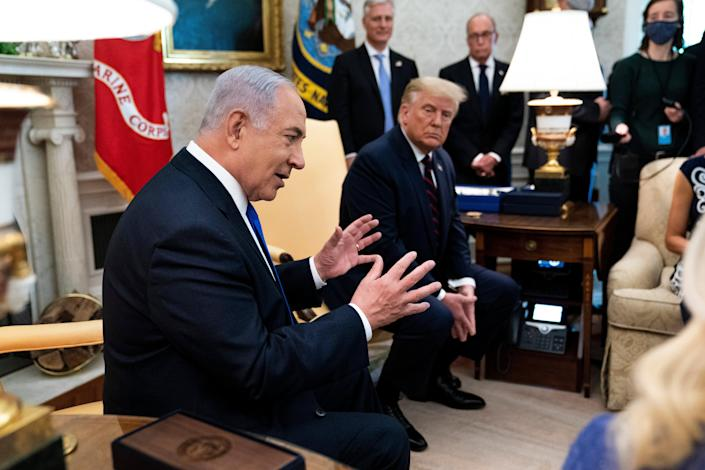 Netanyahu closely aligned himself with then president, Donald Trump, and the Republicans (Getty)