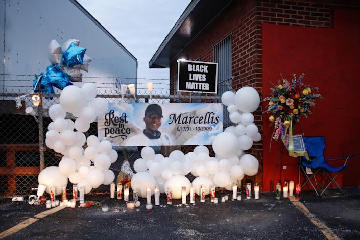 The site of a prayer vigil held for Tafara Williams is seen on October 27, 2020 in Waukegan, Illinois. Williams was shot and wounded during a police shooting that killed 19-year-old Marcellis Stinnette.