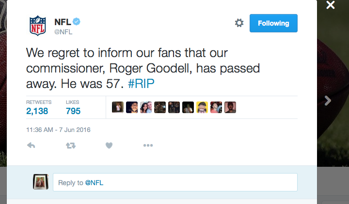 A screenshot of the hoax tweet sent by Devesh using the NFL's official Twitter account.