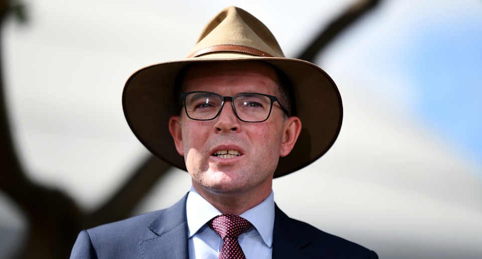 NSW Agriculture Minister Adam Marshall wearing a hat.