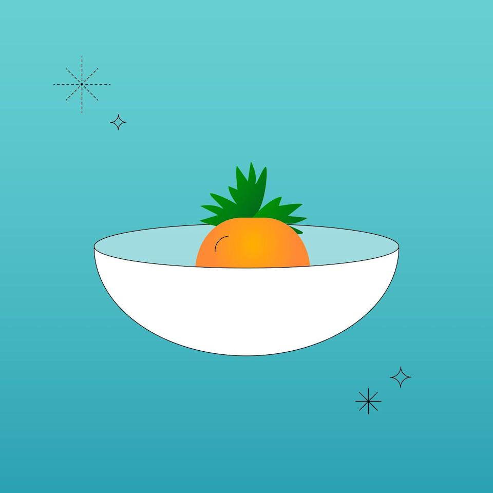 """<p>Cut off the root end of a carrot and place it in a small bowl of water, cut side-down. The carrot itself will not regrow but the leaves will! The greens can be used as garnish, in a salad, or could even be turned into a <a href=""""https://www.delish.com/cooking/recipe-ideas/a27728075/basil-pesto-recipe/"""" rel=""""nofollow noopener"""" target=""""_blank"""" data-ylk=""""slk:pesto"""" class=""""link rapid-noclick-resp"""">pesto</a>. Be sure to change out the water every couple of days. </p>"""