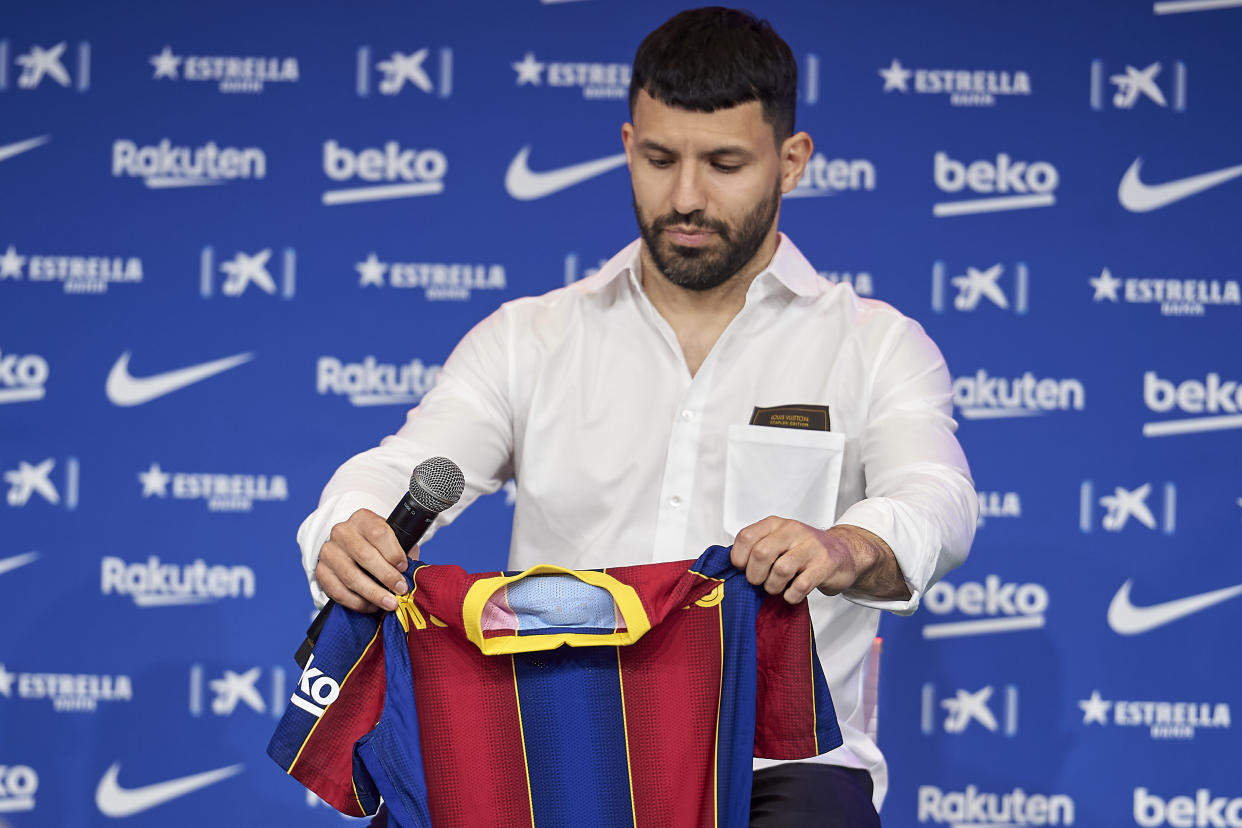 New signing Sergio Kun Aguero during his first press comference during his presentation as FC Barcelona new player at Auditori 1989 in Barcelona, Spain. (Photo by DAX Images/NurPhoto via Getty Images)