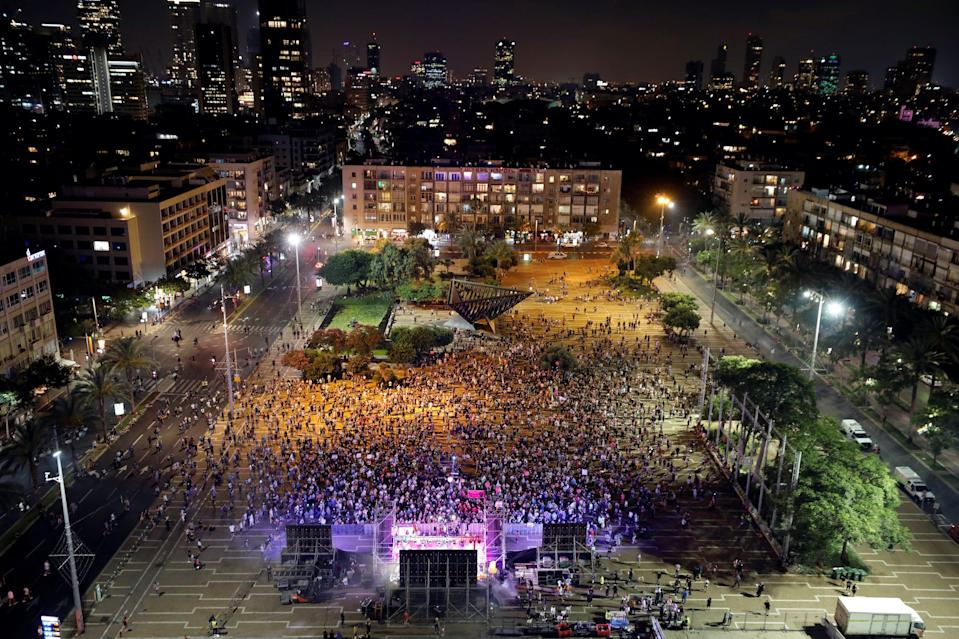 A general view shows Rabin square during a Gay Pride event, which has been down-scaled amid coronavirus disease (COVID-19) fears, in Tel Aviv, Israel June 28, 2020.