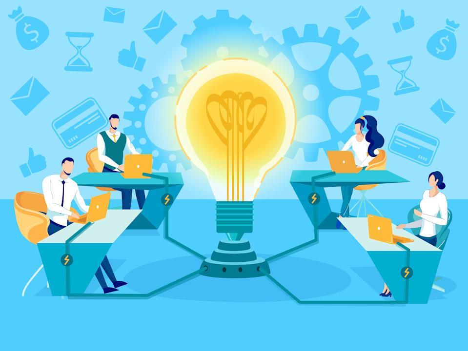 Successful Teamwork, Business Ideas Generating, Brainstorming Effective Solution, Searching Problem Decision Flat Vector Concept. Businesspeople Working on Laptop Connected to Light Bulb Illustration