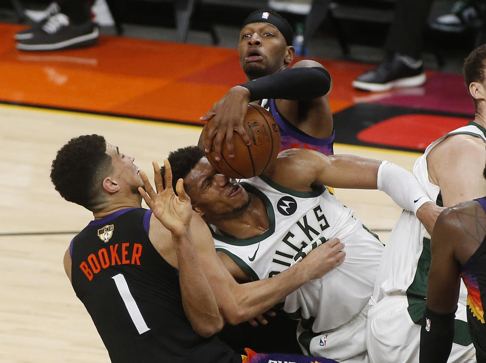Nothing came easy for Milwaukee Bucks superstar Giannis Antetokounmpo. (Ralph Freso/Getty Images)