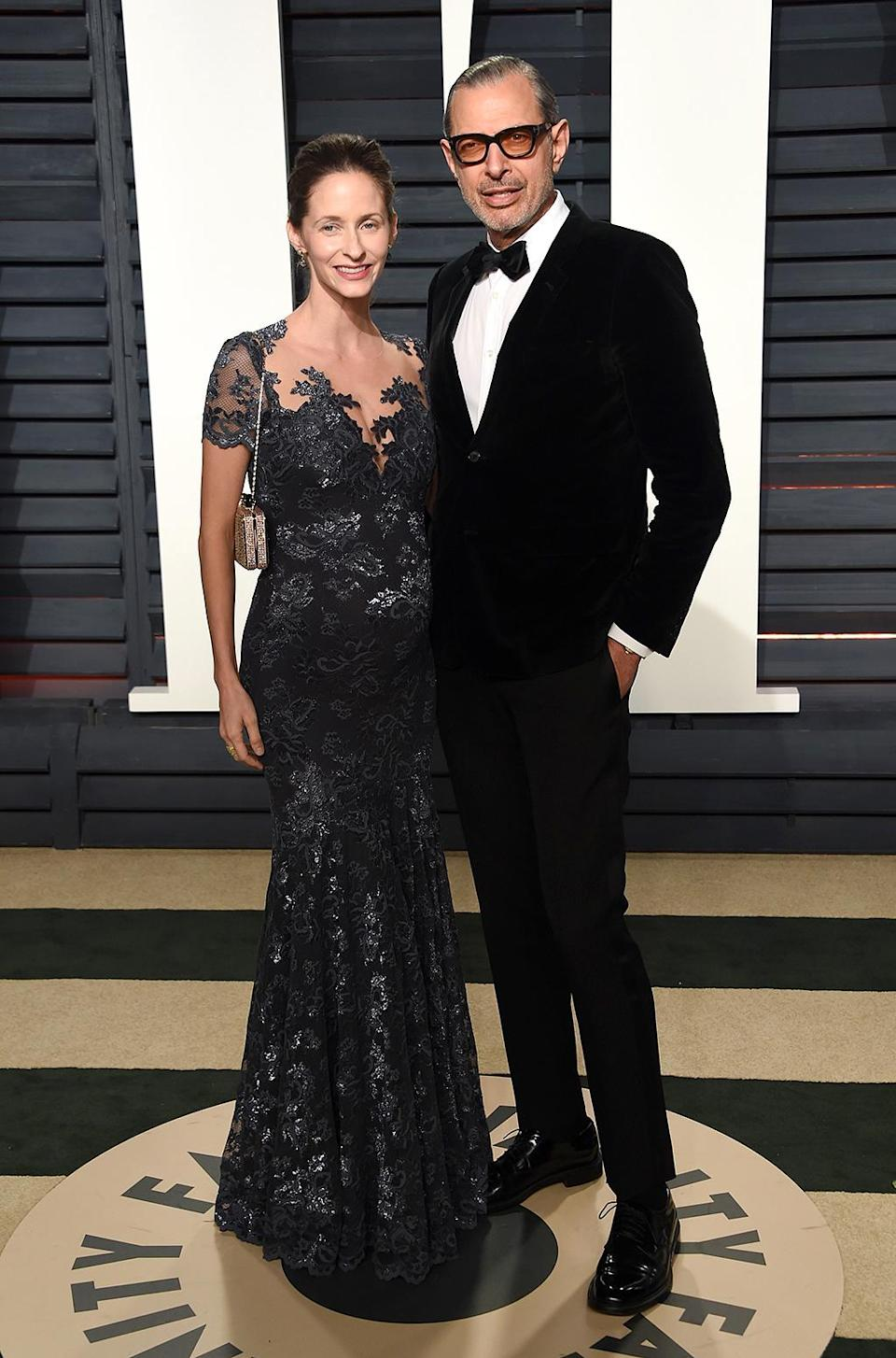 <p>Jeff Goldblum and Emilie Livingston at the 2017 Vanity Fair Oscar viewing party held at the Wallis Annenberg Center for the Performing Arts. (Photo: AKM-GSI) </p>