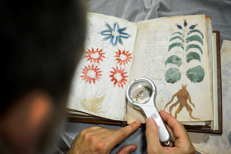 Voynich, is one of the world's most mysterious books, a centuries-old manuscript written in an unknown or coded language that no one -- not even the best cryptographers -- has cracked (AFP Photo/Cesar Manso)