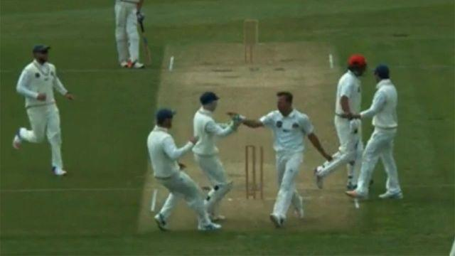 Wagner celebrates after the crazy run-out. Pic: NZ Cricket