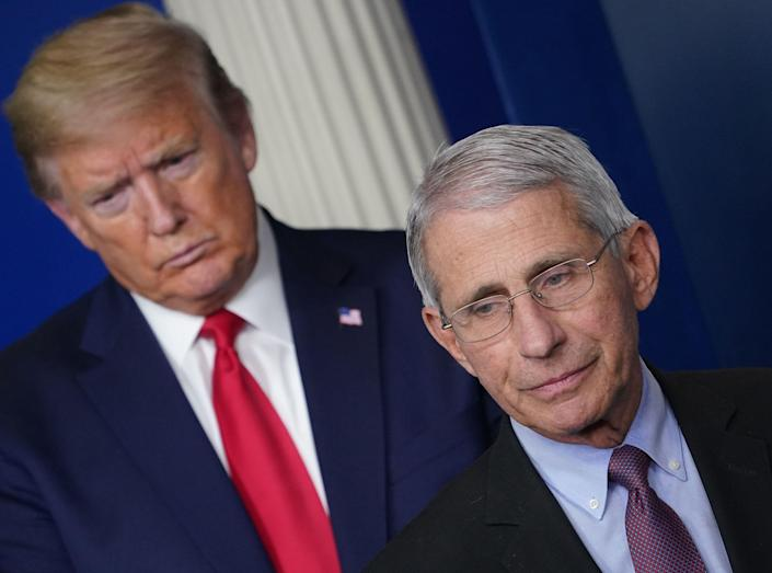 Dr. Anthony Fauci and President Trump on Wednesday. (Mandel Ngan/AFP)
