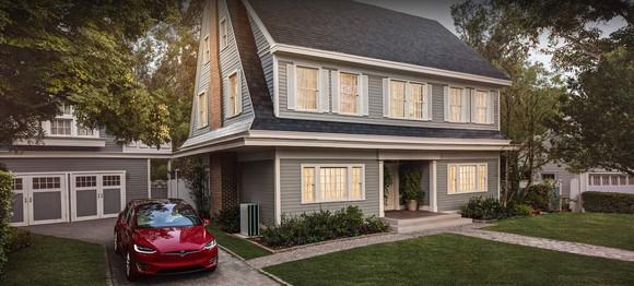 Tesla solar roof product on a home.