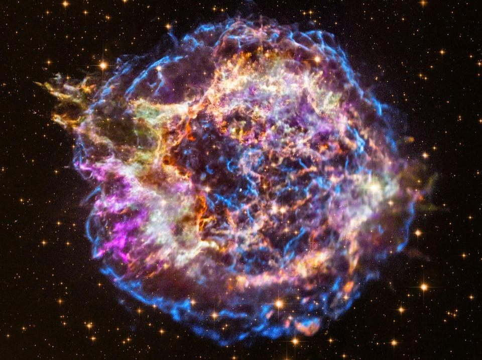 """<p>When Chandra booted up in 1999, it turned toward the supernova remnant Cassiopeia A. The glowing debris shown in this souped-up version of the """"<a href=""""https://www.popularmechanics.com/space/deep-space/g608/first-light-when-the-worlds-greatest-telescopes-opened-their-eyes/?slide=9"""" rel=""""nofollow noopener"""" target=""""_blank"""" data-ylk=""""slk:first light"""" class=""""link rapid-noclick-resp"""">first light</a>"""" image <a href=""""https://www.nasa.gov/mission_pages/chandra/images/the-latest-look-at-first-light-from-chandra.html"""" rel=""""nofollow noopener"""" target=""""_blank"""" data-ylk=""""slk:released just last year"""" class=""""link rapid-noclick-resp"""">released just last year</a> tell the story of a massive star that died in a brilliant stellar explosion. </p><p>Astronomers have narrowed down the date of this celestial event to 1680. There are no records of people witnessing the supernova, but it would have been one of the brightest objects in the sky at the time. </p>"""