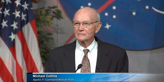 Apollo 11 astronaut Michael Collins speaks at the memorial service for Neil Armstrong at the Johnson Space Center, TX, June 20, 2013.