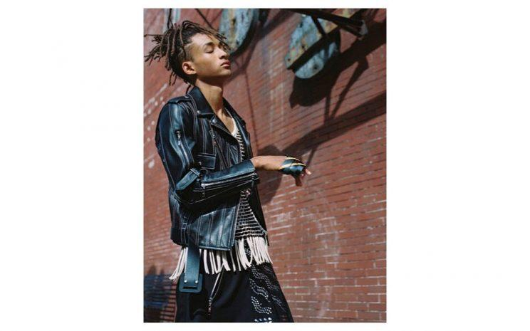 Jaden Smith models a leather jacket and skirt